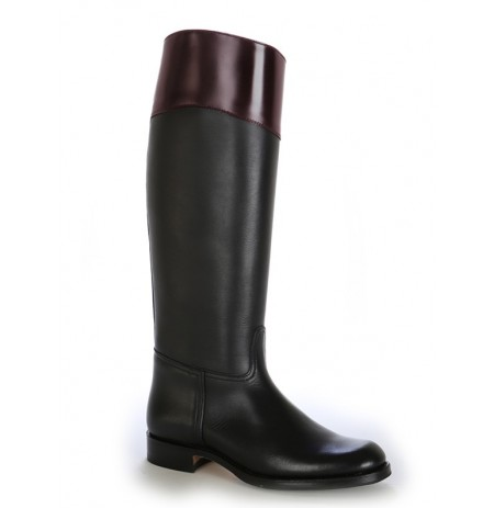 Two-coloured black and wine red leather riding boots