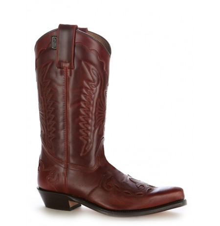 Burgundy leather Mexican cowboy boots