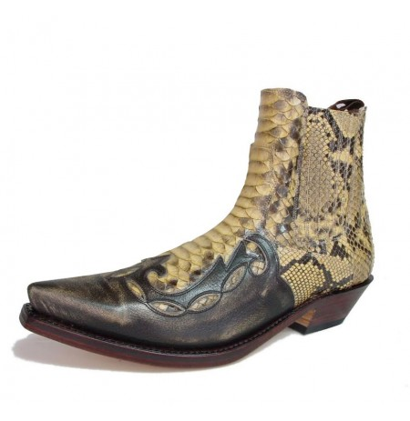 Camel snake and leather cowboy ankle boots