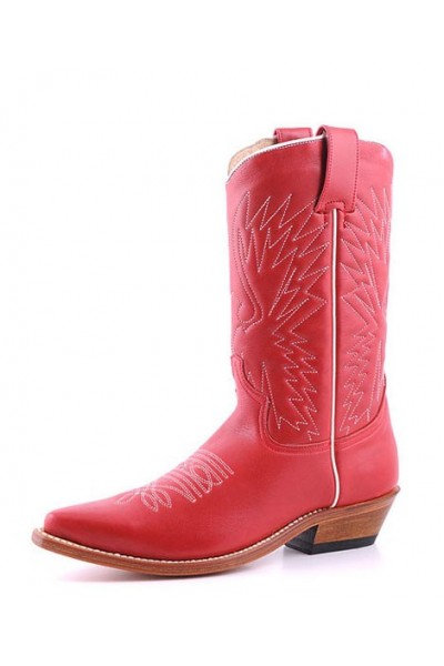 red leather Mexican style cowboy boots