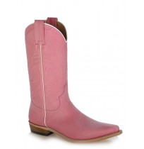 Pink leather cowboy boots for women