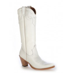 White leather high cowboy boots