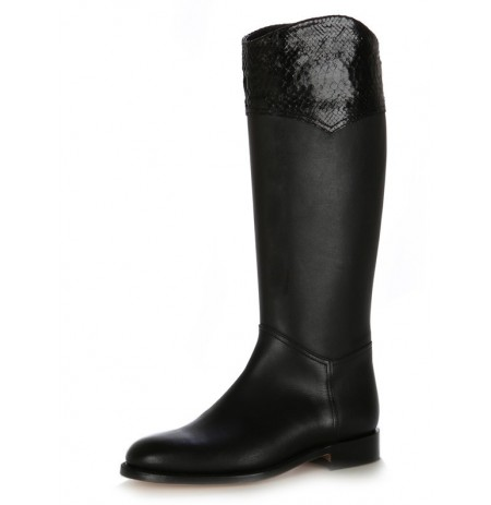 Black snake and leather riding style boots