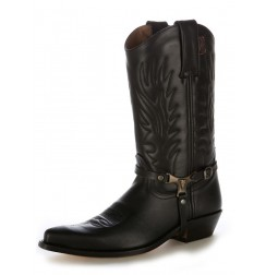 Black leather Mexican cowboy boots with buffalo bridles