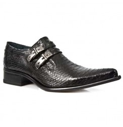 Elegant black snake shoes for men