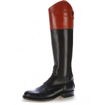 Two tone leather riding boots with bootlaces