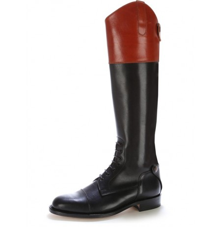 Made to measure two tone leather riding boots with bootlaces