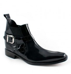 Black varnished leather ankle boots for men