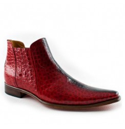 Red crocodile leather ankle boots for men