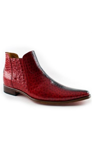 2e2bc54e4c0 VINTAGE RED CROCODILE SKIN FORMAL BOOTS FOR MEN Stylish varnished red ankle  boots