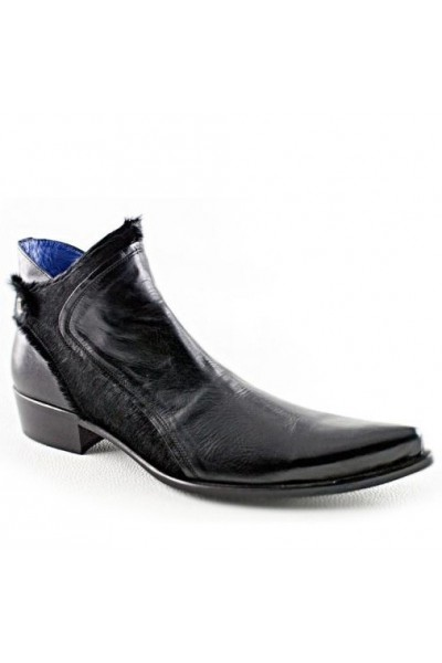 Ankle boots for men black leather pointed tip