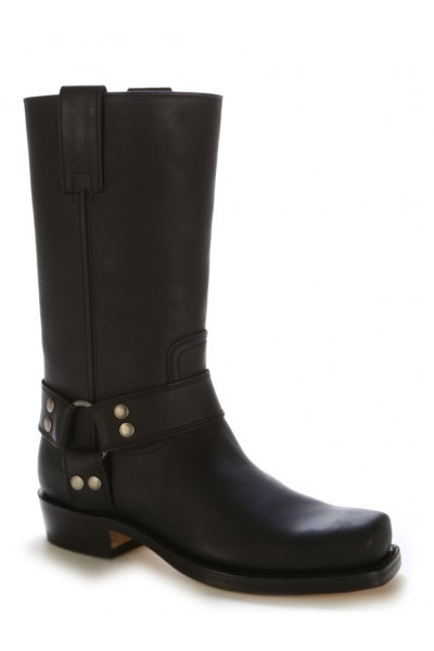 Black leather bike boots with bridles and rivets