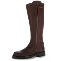 Dark brown leather hunting boots