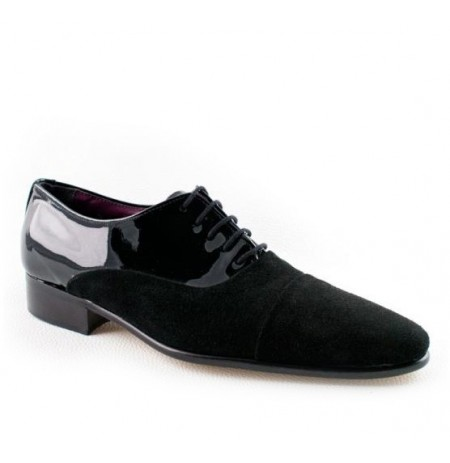 Black patent leather and suede oxford shoes for men