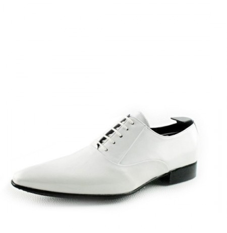 White patent leather shoes for men