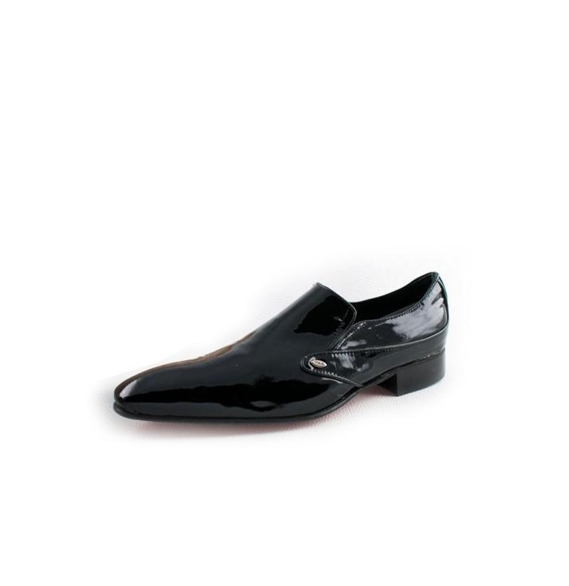 Varnished Black Leather Wedding Loafers Shiny Black Leather Smart