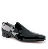 Mens black patent leather shoes without laces