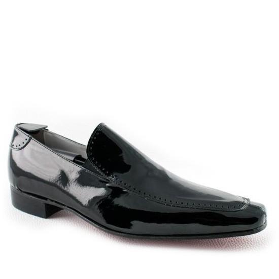 men in black patent leather
