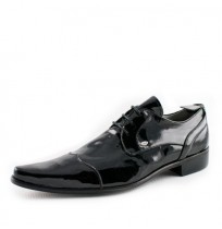 Black patent leather wedding shoes