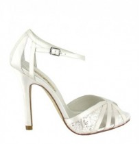 Satin bride shoes with rhinestones