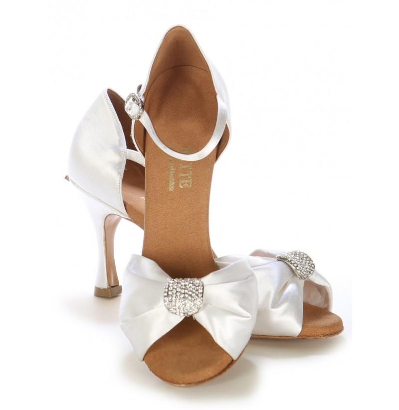 Bridal Shoes Elegant: Precious Wedding Heels With Folded White Satin COMFORTABLE