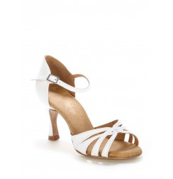 Elegant white leather wedding shoes