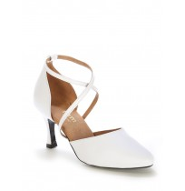 Elegant white leather bridal shoes with ankle straps
