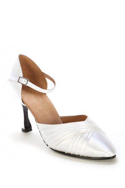 Elegant white leather bridal shoes