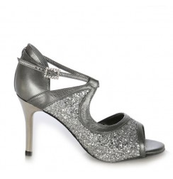 Sequined silver leather dancing shoes