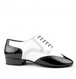 Black and white leather derbies dancing shoes for men