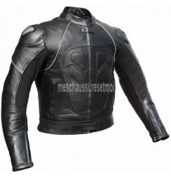 Blouson moto cuir noir flammes