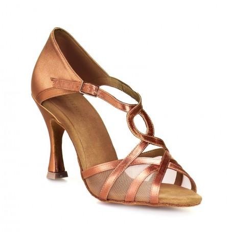 Swirly pattern bronze dancing shoes