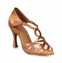 Swirly pattern bronze dancing shoes