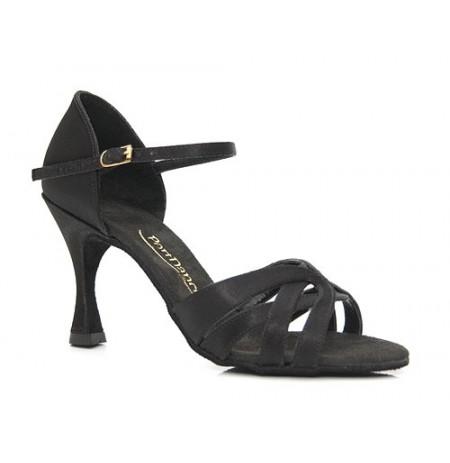 Wide heeled black satin shoes for dancing