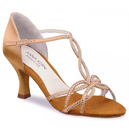 Copper rhinestone salsa dancing shoes