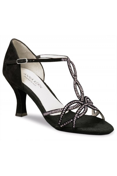 Black leather and strass dancing shoes
