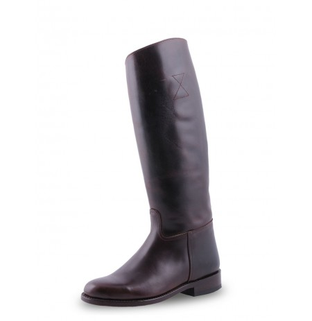 Dark brown unisex leather riding boots