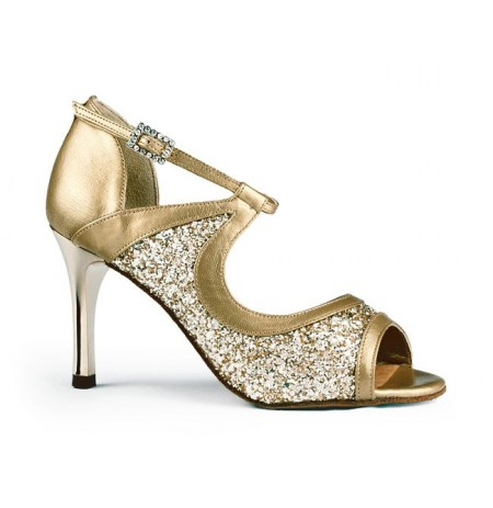 Sequined golden leather dancing shoes