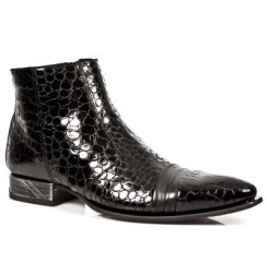Black patent crocodile ankle boots for men
