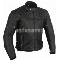 Black leather custom made biker jacket with extreme protection
