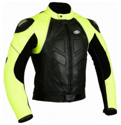 Yellow and black leather bike jacket