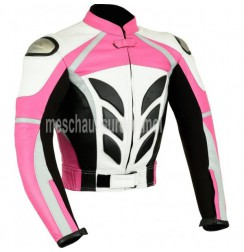 Pink girl leather bike jacket