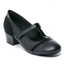 Black leather and patent comfort shoes