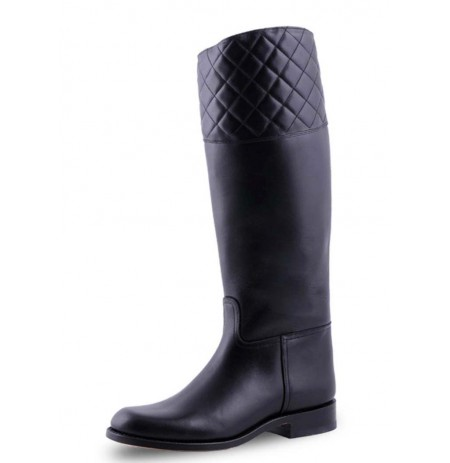 Elegant black leather equestrian riding style boots