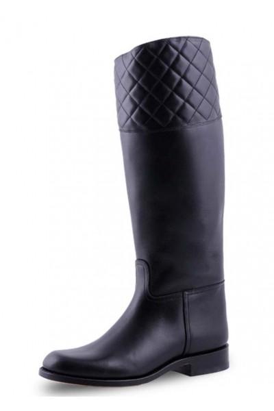Elegant black leather riding style boots