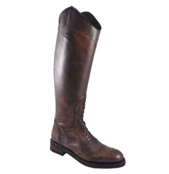 Vintage leather riding boots with bootlaces