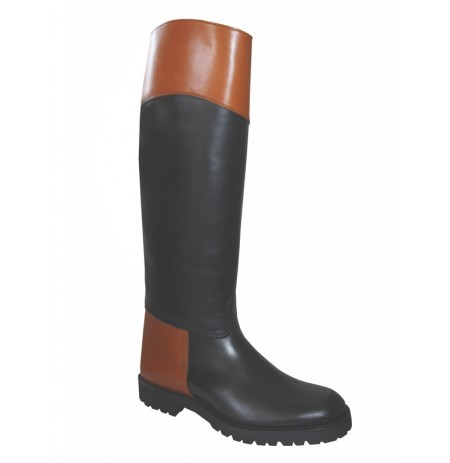 Two-tone leather black riding boots