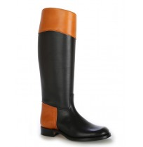 Two-coloured leather black and camel riding boots