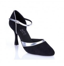 Elegant black and silver leather comfort shoes