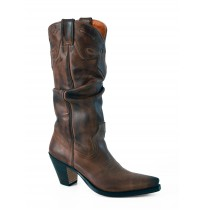 Brown leather cowboy boots for women
